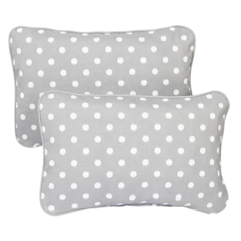 Grey Dots Corded 13 x 20 inch Indoor/ Outdoor Throw Pillows (Set of 2)