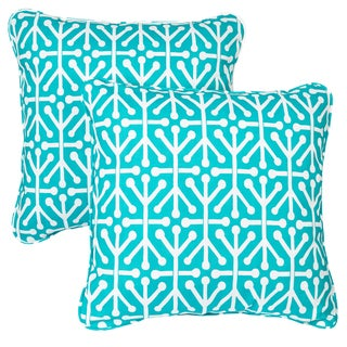 Dossett Teal Corded Indoor/ Outdoor Square Pillows (Set of 2)
