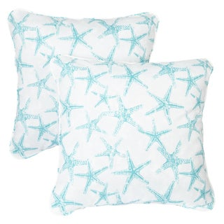 Aqua Starfish Corded Indoor/ Outdoor Square Pillows (Set of 2)