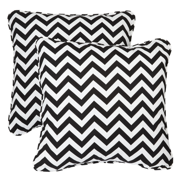 Black Chevron Corded Indoor/ Outdoor Square Pillows (Set of 2)