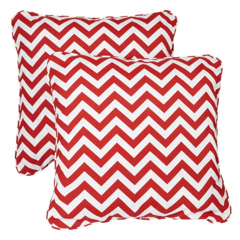 Red Chevron Corded Indoor/ Outdoor Square Pillows (Set of 2)