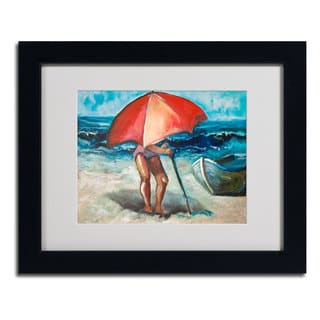 Judy Harris 'Beach Umbrella' Framed Matted Art