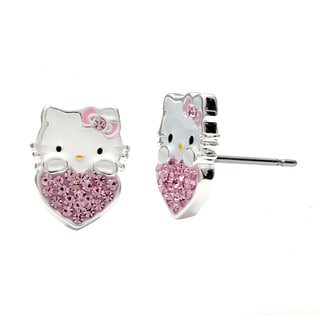 Shop Hello Kitty Sterling Silver Plated Crystal Heart Stud