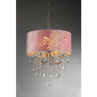 Dice 3-light 60-watt Crystal Chandelier with Pink Etched Rose Shade