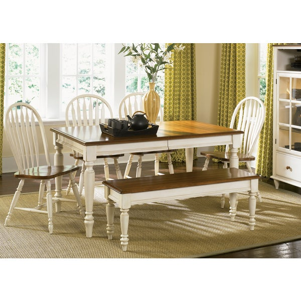 The Gray Barn Siufanua Antique White and Sand Rectangular 6-Piece Dining Set