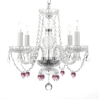 Gallery Venetian Style Crystal Chandeleir with Pink Crystal Hearts