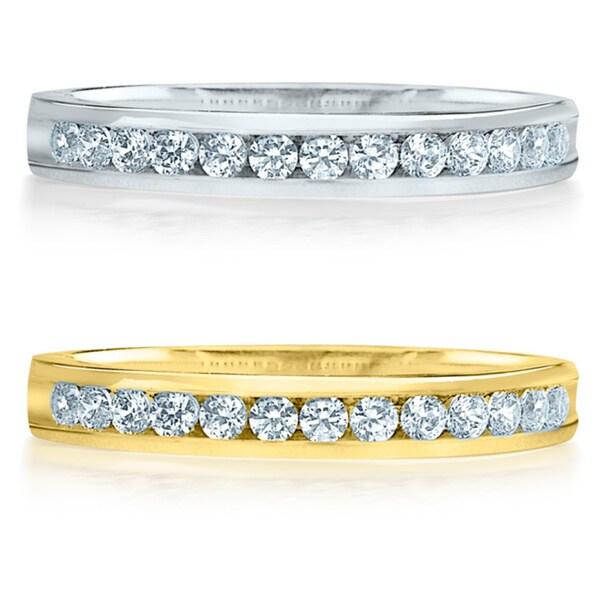 Amore 14k Gold 1/4ct TDW Machine-set Diamond Wedding Band