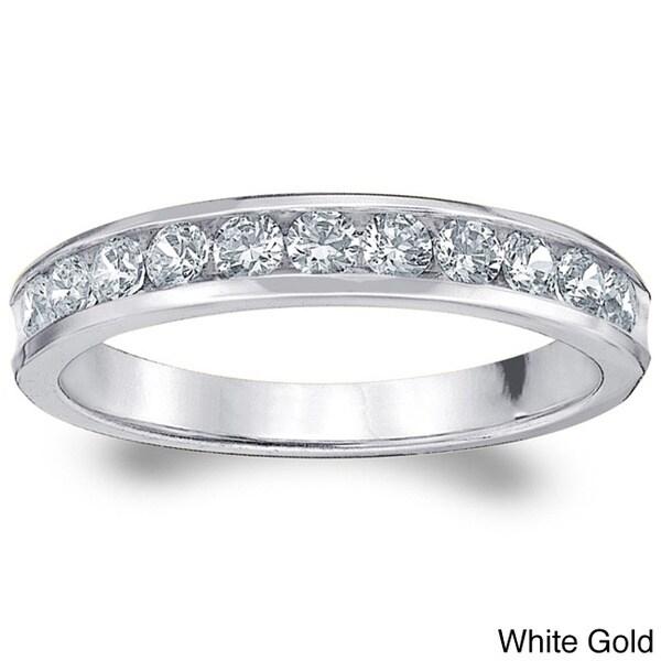 Amore 14k Gold 1/2ct TDW Machine-set Diamond Wedding Band