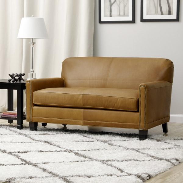 Caramel Brown Leather Jumbo Love Seat