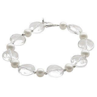 Pearls For You Sterling Silver White Freshwater Pearl Crystal Quartz and Silver Bead Bracelet (6-7 mm)