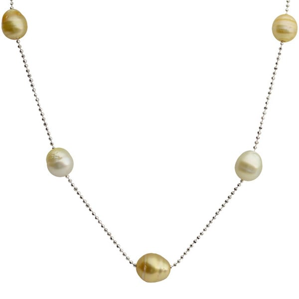 Pearls For You Sterling Silver Golden South Sea Baroque Pearl Diamond-cut Station Necklace (9-11 mm)