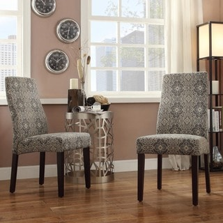 INSPIRE Q Marcey Blue Damask Wave Back Dining Chair (Set of 2)