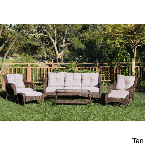 Resin Wicker 6 Piece Patio Conversation Set   Free Shipping Today    Overstock.com   15857877