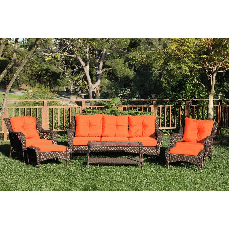 Jeco Resin Wicker/Steel 6 Piece Patio Conversation Set (Option: Orange  Cushions