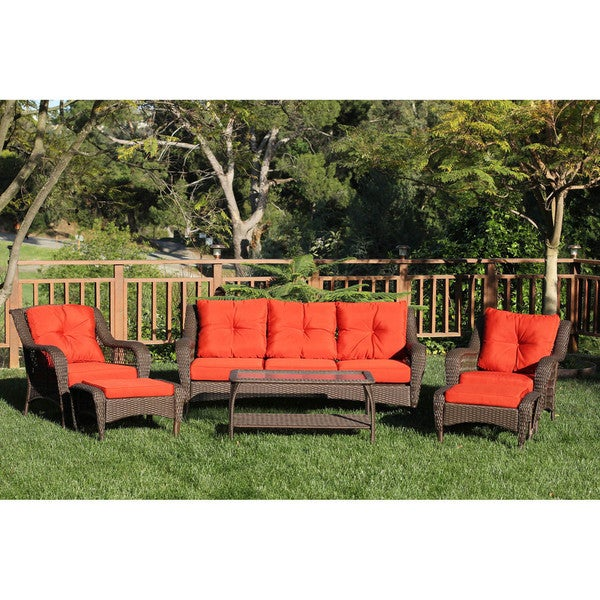 Jeco Resin Wicker/Steel 6 Piece Patio Conversation Set