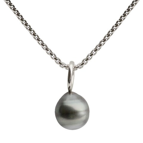 Pearls For You Sterling Silver Black Tahitian Pearl Solitaire Pendant (10-11 mm)