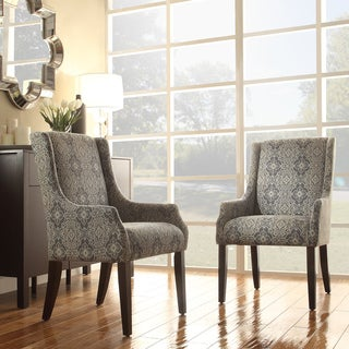 Jourdan Blue Damask Sloped Arm Hostess Chair by iNSPIRE Q Bold