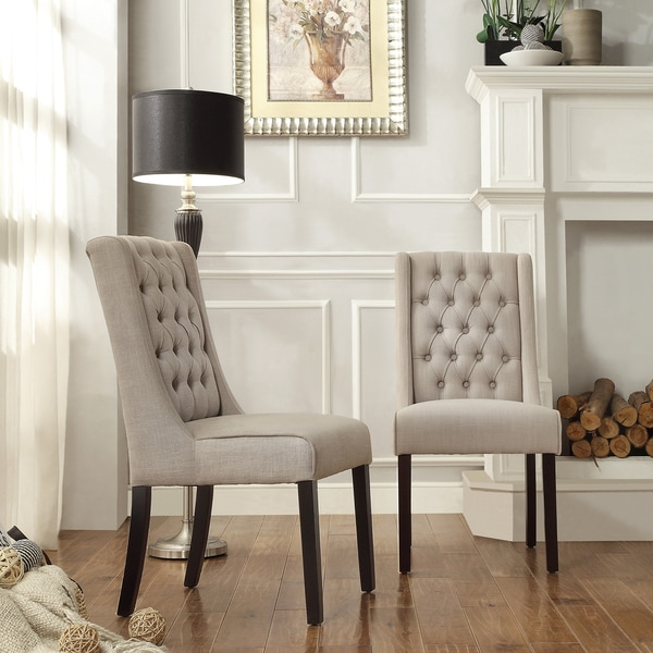 Inspire Q Evelyn Oatmeal Linen Tufted Back Hostess Chairs