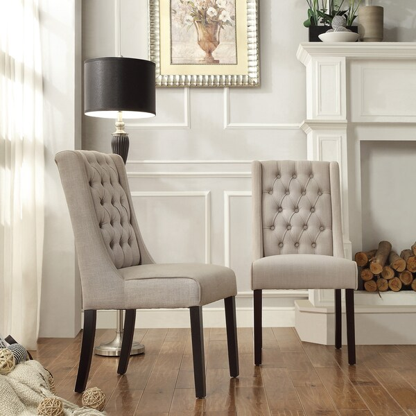 Charmant INSPIRE Q Evelyn Oatmeal Linen Tufted Back Hostess Chairs (Set Of 2)