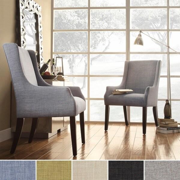 INSPIRE Q Jourdan Linen Sloped Arm Hostess Chair As Is Item Free Shipping