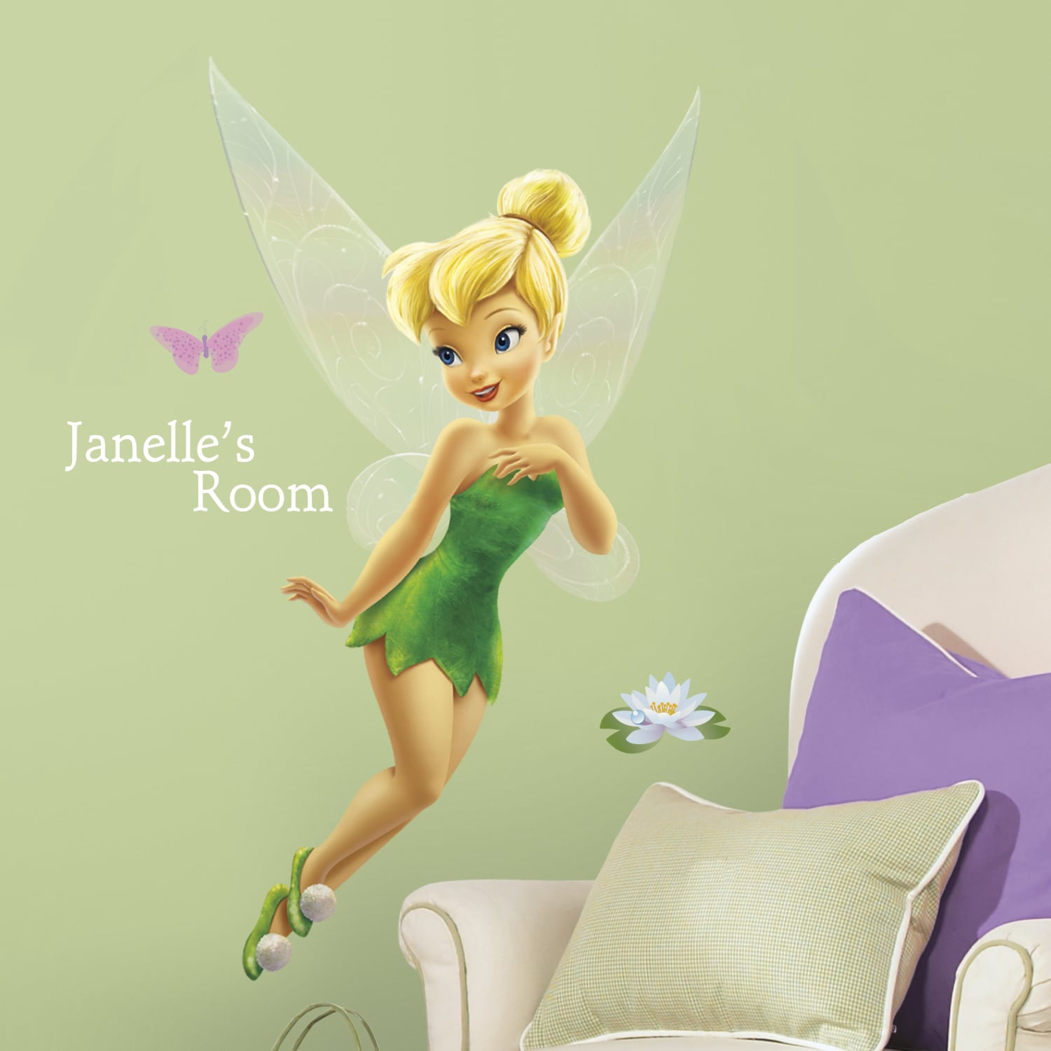RoomMates Tinkerbell Peel and Stick Giant Wall Decal with...