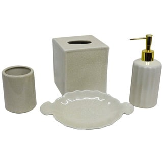 Empress rectangular porcelain tissue box 13818882 for Black crackle bathroom accessories