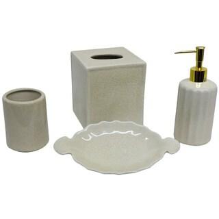 Cream Crackle Bath Accessory 4-piece Set