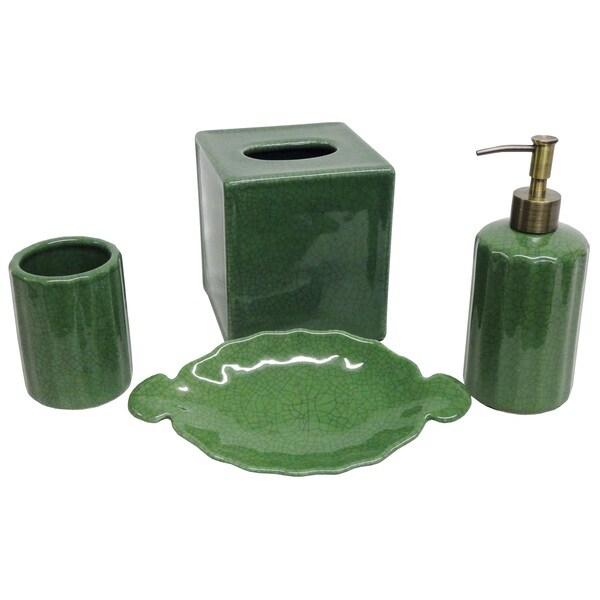 Emerald Crackle Porcelain Bath Accessory 4-piece Set
