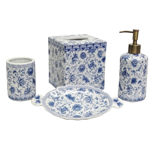 Blue and white florettes porcelain bath accessory 4 piece for White bathroom accessories set