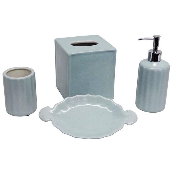 Baby blue porcelain bath accessory 4 piece set free for Blue bath set
