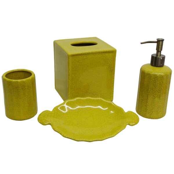 Shop Yellow Crackle Bath Accessory 4 Piece Set Free