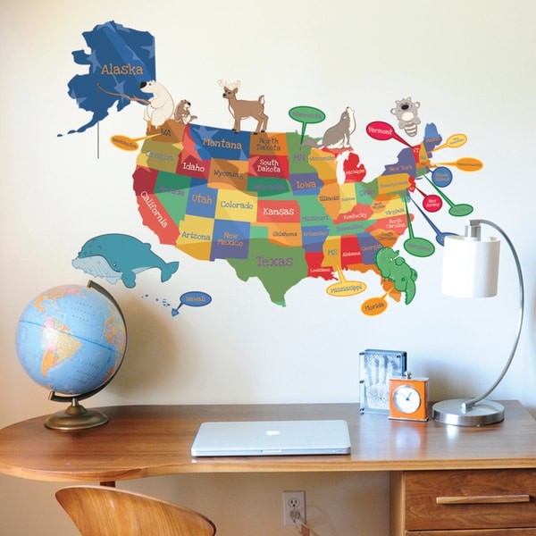 Dcwv Home Wall Decor : Dcwv colorful map with animals wall art free shipping on