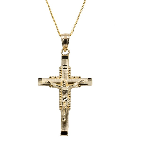14k two tone gold crucifix necklace free shipping today overstock - 14k Yellow Gold Cross Necklace Free Shipping Today