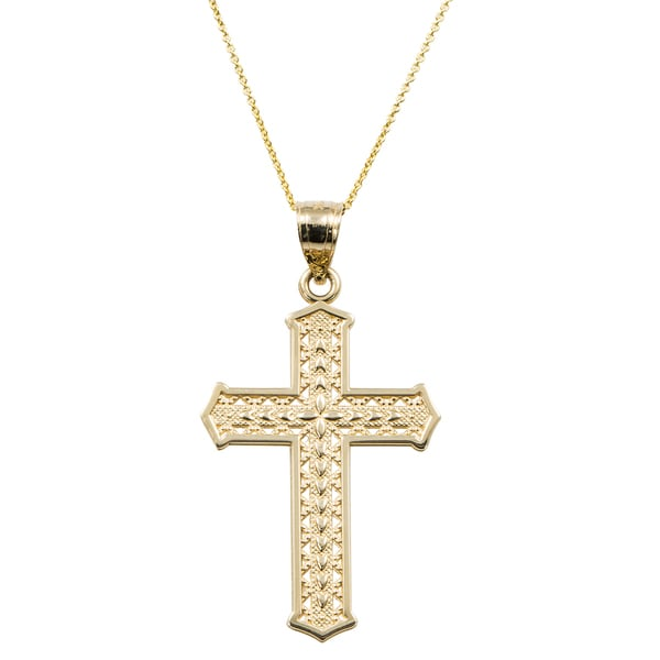 d0a8b1a98757cd Shop 14k Yellow Gold Cross Chain Necklace - Free Shipping Today ...