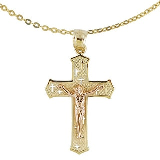 14k Two Tone Gold Crucifix Necklace
