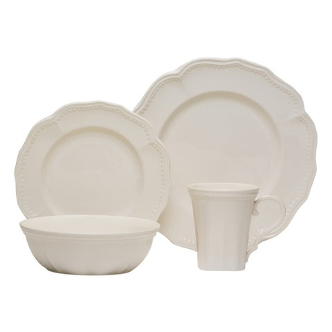 Red Vanilla Classic White 16-piece with Coupe Bowls Dinnerware Set