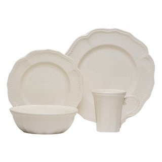 Red Vanilla Classic White 16-piece with Coupe Bowls Dinnerware Set  sc 1 st  Overstock & American Atelier Scallop White 16-piece Dinner Set - Free Shipping ...