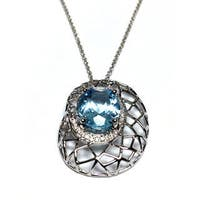 Neda Behnam 14k White Gold Diamond and Blue Topaz Basketweave Pendant on 18-inch Ch