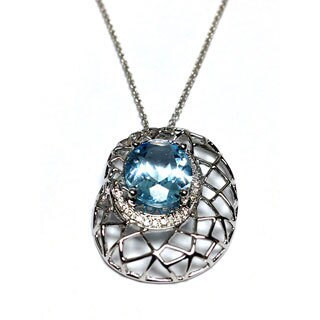 Neda Behnam 14k White Gold Diamond and Blue Topaz Basketweave Pendant on 18-inch Ch