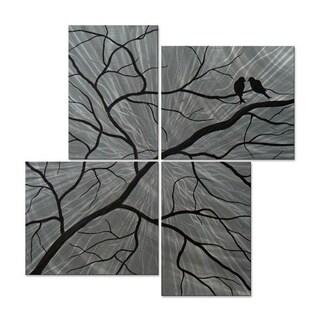 Brittney Hallowell 'Winter Secrets' 4-panel Metal Wall Sculpture Art