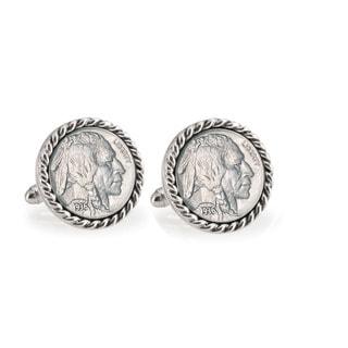 American Coin Treasures Buffalo Nickel Silvertone Rope Bezel Cuff Links