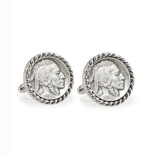 American Coin Treasures 1913 First-Year-of-Issue Buffalo Nickel Silvertone Rope Bezel Cuff Links