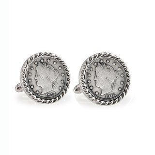 Link to American Coin Treasures Liberty Nickel Silvertone Rope Bezel Cuff Links Similar Items in Men's Jewelry