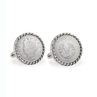 American Coin Treasures 1800's Liberty Nickel Silvertone Rope Bezel Cuff Links