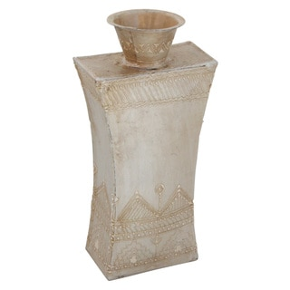 Handmade Iridescent Cream Concave Vase (India)
