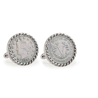 American Coin Treasures 1883 First-Year-of-Issue Liberty Nickel Silvertone Rope Bezel Cuff Links