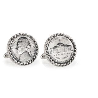 American Coin Treasures Wartime Silver Jefferson Nickel Silvertone Rope Bezel Cuff Links