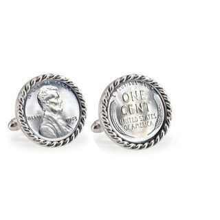 American Coin Treasures 1943 Lincoln Steel Penny Silvertone Rope Bezel Cuff Links