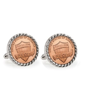 American Coin Treasures Lincoln Union Shield Penny Silvertone Rope Bezel Cuff Links