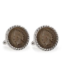 American Coin Treasures Civil War Indian Head Penny Silvertone Rope Bezel Cuff Links